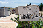 """The only thing in Gibellina that survived the 1968 quake was the cemetery, which is called """"Paradise Road"""" and marks the entrance to the town in the northwestern part of Sicily, Italy. The village remains as it was, while a new, ultra-modernist town was constructed for surviving residents 10 km away."""