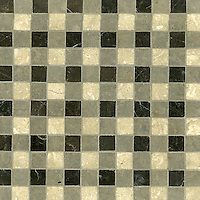 Bonnie, a stone mosaic field shown in St. Laurent, Montevideo and Jura Beige, is part of the Plaids and Ginghams Collection by New Ravenna Mosaics.