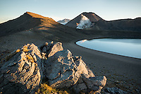 Sunset over Blue Lake and Mount Ngaruhoe, Tongariro National Park, Central Plateau, North Island, UNESCO World Heritage Area, New Zealand, NZ