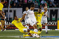 New York Cosmos player Raul (C ) is fouled by Tampa Bay Rowdies players during their soccer match in the North American Soccer League in New York. Eduardo MunozAlvarez/VIEWpress 04/18/2015