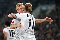 FUSSBALL   1. BUNDESLIGA   SAISON 2011/2012    17. SPIELTAG Borussia Moenchengladbach - FSV Mainz 05             18.12.2011 Mike Hanke (li) und Marco Reus (re, beide Borussia Moenchengladbach)  jubeln nach dem Tor zum 1:0