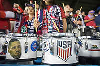 SAN JOSE, CA - March 24, 2017: US Soccer fans drums are adorned with Clint Dempsey and the US Soccer logo at the CONCACAF World Cup Qualifier game between the USA and Honduras at Avaya Stadium.