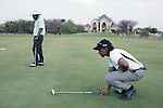 GABORONE, BOTSWANA - SEPTEMBER 22: Unidentified wealthy businessmen play golf at Phakalane private golf estate on September 22, 2009 in central Gaborone, Botswana. Debswana, a 50/50 partnership between the De Beers Company and the government of Botswana has brought lots of revenues to Botswana, including an impressive infrastructure such as roads and free education up to university. (Photo by Per-Anders Pettersson)..