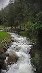 Alpine stream flowing through bridge and forested riverbank. Stuibenfall area, ötztal, Sölden district, Tyrol, Tirol, Austria.