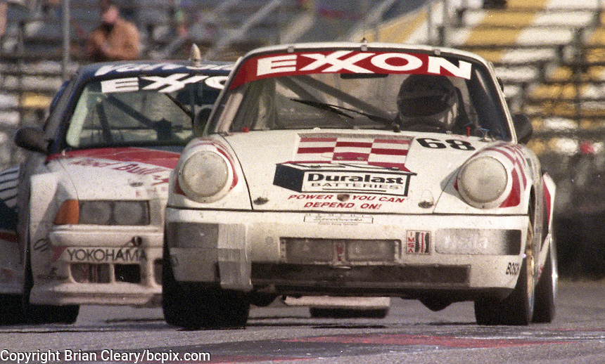 The #68 Porsche 911 Cup of Tim Vargo, Jack Refenning, John Maffucci, Brady Refenning, and Peter Uria races to a 25th place finish in the 24 Hours of Daytona, IMSA race, Daytona International Speedway, Daytona Beach , FL, February 4, 1996.  (Photo by Brian Cleary/www.bcpix.com)