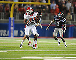Fresno State wide receiver J.J. Stallworth (81) is tackled by Ole Miss defensive back Tony Grimes (24) at Vaught-Hemingway Stadium in Oxford, Miss. on Saturday, September 25, 2010. Ole Miss won 55-38.