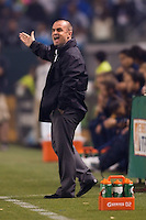 Portland Timbers head coach John Spencer barking out directions. The LA Galaxy defeated the Portland Timbers 3-0 at Home Depot Center stadium in Carson, California on  April  23, 2011....