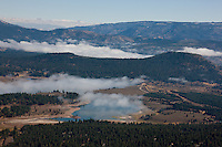 """Prosser Reservoir Aerial 1"" - This photograph of a foggy Prosser Reservoir was shot from an amphibious seaplane with the door removed."