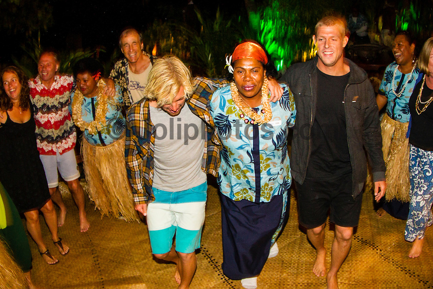 Namotu Island Resort, Fiji. (Thursday, May 31, 2012) Adrian Buchan (AUS) and Mick Fanning (AUS) enjoy Kava Night on Namotu Island. -   Strong winds and a very messy ocean meant no surfing today. Photo: joliphotos.com