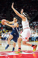 College Park, MD - DEC 29, 2016: Connecticut Huskies guard Gabby Williams (15) drives to the basket against Maryland Terrapins center Brionna Jones (42) during game between No. 1 UConn and the No. 3 Terrapins at the XFINITY Center in College Park, MD. UConn defeated Maryland 87-81. (Photo by Phil Peters/Media Images International)