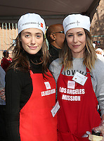 Los Angeles, CA - NOVEMBER 23: Emmy Rossum, Amanda Crew, At Los Angeles Mission Thanksgiving Meal For The Homeless At Los Angeles Mission, California on November 23, 2016. Credit: Faye Sadou/MediaPunch