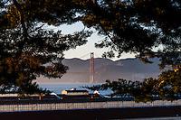 United States, California, San Francisco. Fort Mason. Golden Gate bridge in the background.