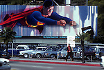 Superman billboard, Sunset Strip, 1980