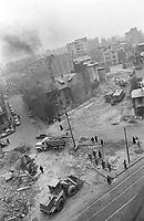 ROMANIA, Calinescu Street, Bucharest, 12.1986.Demolished neighbourhood - diagonally, to Strada Armeneasca..© Andrei Pandele / EST&OST