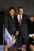 Democratic presidential candidate Barack Obama, and his wife Michelle, greet fans during a rally held on the night of the Texas primary election, March 4, 2008, in front of the Municipal Auditorium building in San Antonio, Texas. (Darren Abate/PressPhotoIntl.com)