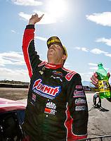 Feb 26, 2017; Chandler, AZ, USA; NHRA pro stock driver Greg Anderson celebrates after winning the Arizona Nationals at Wild Horse Pass Motorsports Park. Mandatory Credit: Mark J. Rebilas-USA TODAY Sports