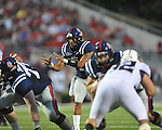 Ole Miss quarterback Randall Mackey (1) takes a snap against Southern Illinois at Vaught-Hemingway Stadium in Oxford, Miss. on Saturday, September 10, 2011.