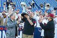 Annapolis, MD - December 3, 2016: Temple Owls head coach Matt Rhule accepts the AAC trophy after the game between Temple and Navy at  Navy-Marine Corps Memorial Stadium in Annapolis, MD.   (Photo by Elliott Brown/Media Images International)