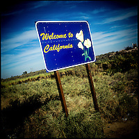 A sign welcomes people to California from Mexico at the Andrade border crossing.