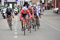 Jasper Stuyven (BEL/Trek-Segafredo), pushing hard in the breakaway group nearing the race finale with Tiesj Benoot (BEL/Lotto-Soudal), Peter Sagan (SVK/Bora-Hansgrohe), Matteo Trentin (ITA/QuickStep) &amp; Luke Row (GBR/Team Sky) close behind<br /> <br /> 69th Kuurne-Brussel-Kuurne 2017 (1.HC)
