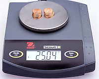 CALCULATING MASS<br /> Mass of Ten Pennies On A Digital Scale Is 25.04 g<br /> The mass of one penny can be calculated from the mass of ten pennies in g/penny.