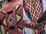 Close up of Native American Pow Wow Regalia. Examples of ethnic pride, heritage and traditional folk art crafts.<br />