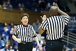 27 January 2013: Referees Kathy Lynch (left) and Kevin Dillard confer to get a call right. The Duke University Blue Devils played the Boston College Eagles at Cameron Indoor Stadium in Durham, North Carolina in an NCAA Division I Women's Basketball game. Duke won the game 80-56.