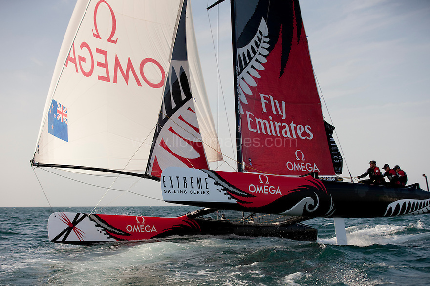 Extreme Sailing Series 2011. Leg 1. Muscat. Oman.Day 2 of racing. Team New Zealand skippered by Dean Barker with team mates Glenn Ashby,James Dagg and Richard Meacham