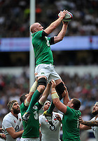 Paul O'Connell of Ireland rises high to win lineout ball. QBE International match between England and Ireland on September 5, 2015 at Twickenham Stadium in London, England. Photo by: Patrick Khachfe / Onside Images