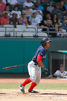 Salem Red Sox catcher Jhon Nunez (2) at bat during a game against the Down East Wood Ducks  at Grainer Stadium on April 16, 2017 in Kinston, North Carolina. Salem defeated Down East 9-2. (Robert Gurganus/Four Seam Images)