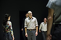 London, UK. 08.04.2014. A VIEW FROM THE BRIDGE, by Arthur Miller, opens at the Young Vic. Directed by Ivo Van Hove, design and light by Jan Versweyveld and costumes by An D'Huys. Picture shows: Phoebe Fox (Catherine), Jonah Russell (Officer), Mark Strong (Eddie), Michael Gould (Alfieri) and Richard Hansell (Louis). Photograph © Jane Hobson.