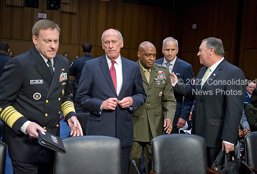 From left to right:  Admiral Michael Rogers, Director of the National Security Agency (NSA); Daniel R. Coats,<br /> Director of National Intelligence (DNI); Lieutenant General Vincent Stewart, Director of the Defense Intelligence Agency (DIA); Robert Cardillo, Director of the National Geospatial-Intelligence Agency (NGA); Michael Pompeo, Director of the Central Intelligence Agency (CIA); arrive prior to the United States Senate Select Committee on Intelligence conducting an open hearing titled &quot;Worldwide Threats&quot; on Capitol Hill in Washington, DC on Thursday, May 11, 2017.  <br /> Credit: Ron Sachs / CNP<br /> (RESTRICTION: NO New York or New Jersey Newspapers or newspapers within a 75 mile radius of New York City)