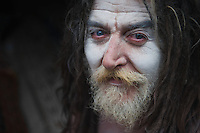 A Foreigner Turned Naga Sadhu, taken during the Kumbh Mela, Haridwar, 2010. Naga Sadhus belong to the Shaiva sect, they have matted locks of hair and their bodies are covered in ashes like Lord Shiva.<br />
