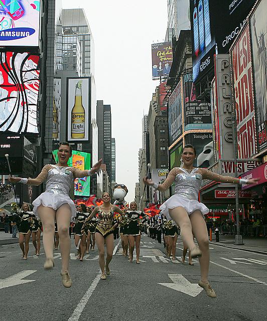 Purdue cheerleaders perform.