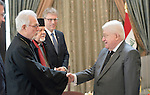 Archbishop Vicken Aykazian of the Armenian Apostolic Church in the United States, greets Iraqi President Fuad Masum on January 22, 2017, during the visit of a high-level ecumenical delegation to Baghdad.