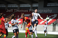 Hannah Keryakoplis of Wales battles against Paige Williams and Meaghan Sergeant of England during the UEFA Womens U19 Championships at Parc y Scarlets, Monday 19th August 2013. All images are the copyright of Jeff Thomas Photography-www.jaypics.photoshelter.com-07837 386244-Any use of images must be authorised by the copyright owner.