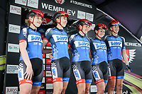 Picture by Alex Whitehead/SWpix.com - 16/05/2017 - Cycling - Tour Series Round 4, Wembley - Matrix Fitness Grand Prix - Team WMT are introduced on the podium.