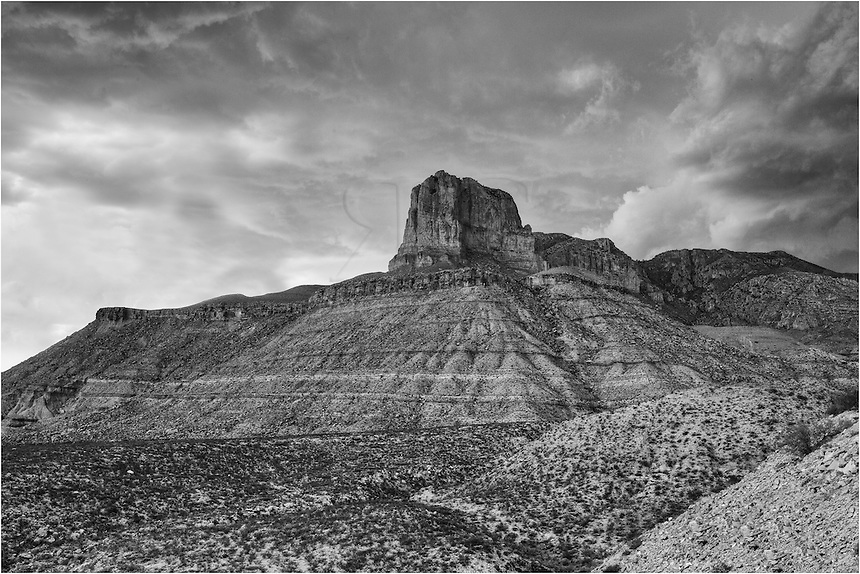 After hiking up to the top of Guadalupe Peak located in Guadalupe Mountains National Park, I had to hurry down because of storms rolling in. Rain poured on my in the latter part of the descent, and I captured this El Capitan image from the road as I was leaving.
