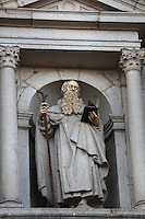 Door of San Frutos (St Fructus, 8th century), Hermit and Patron Saint of Segovia, by Pedro de Brizuela, (1555-1631),  Segovia Cathedral, (Catedral de Segovia, Catedral de Santa Maria), 1525-77, by Juan Gil de Hontanon (1480-1526), and continued by his son Rodrigo Gil de Hontanon (1500-1577), Segovia, Castile and Leon, Spain. Last Gothic Cathedral in Spain, commissioned by Carlos V (1500-58), after an earlier cathedral was damaged in the Revolt of the Comuneros, 1520. Cathedral consecrated, 1768. Picture by Manuel Cohen