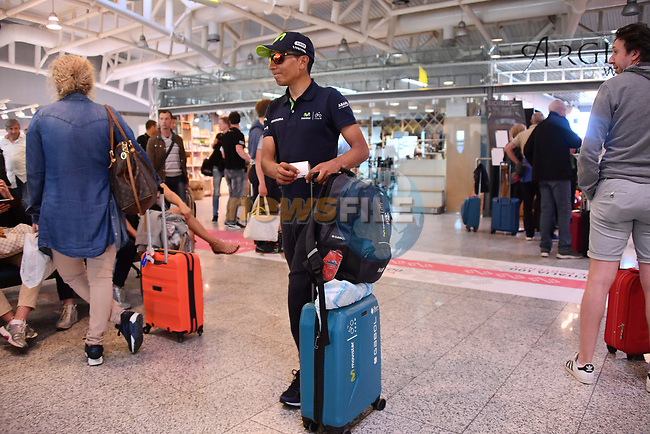 Riders including Nairo Quintana (COL) Movistar Team transfer from Cagliari airport to Sicily after Stage 3 of the 100th edition of the Giro d'Italia 2017, running 148km from Tortoli to Cagliari, Sardinia, Italy. 7th May 2017.<br /> Picture: LaPresse/Gian Mattia D'Alberto | Cyclefile<br /> <br /> <br /> All photos usage must carry mandatory copyright credit (&copy; Cyclefile | LaPresse/Gian Mattia D'Alberto)