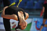 Daria Dmitrieva of Russia performs with clubs during training at 2011 Holon Grand Prix at Holon, Israel on March 3, 2011.  (Photo by Tom Theobald).Photo id:  244dmitrieva-holon20110303rus300