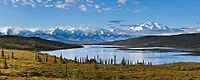 Panoram of morning sunshine on Wonder Lake, North Face of Denali,  North America's largest mountain, Denali National Park, Interior, Alaska.