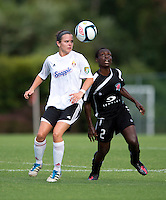 Odishika Chukwuji (2) of the Virginia Beach Piranhas fights for the ball with Kelsey Pardue (17) of the Fredericksburg Impact during the game at the University of Mary Washington Battleground Stadium in Fredericksburg, VA.   The Virginia Beach Piranhas defeated the Fredericksburg Impact, 2-0, in a weather shortened game.