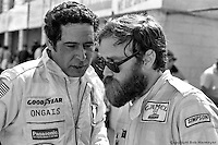 Danny Ongais (left) and Ted Field in the Sebring pit lane during practice for the race in 1982.