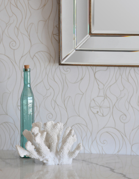 Octopus's Garden, a jewel glass waterjet mosaic, is shown in Moonstone.<br /> <br /> Take the next step: prices, samples and design help, http://www.newravenna.com/showrooms/