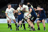 Maro Itoje of England takes on the France defence. RBS Six Nations match between England and France on February 4, 2017 at Twickenham Stadium in London, England. Photo by: Patrick Khachfe / Onside Images