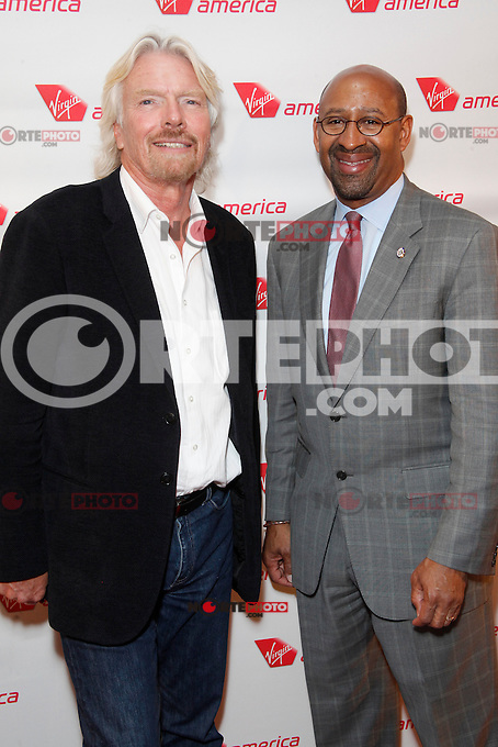 Sir Richard Branson and Mayor Michael Nutter at the launch party celebrating Virgin America's first flight to Philadelphia at the Hotel Palomar in Philadelphia, PA. April 4, 2012. © Star Shooter/MediaPunch Inc.