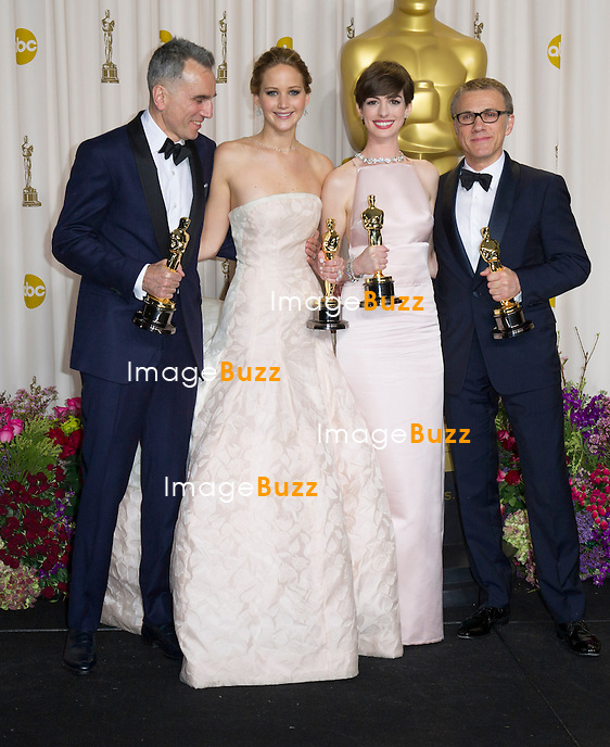 Daniel Day-Lewis , Jennifer Lawrence, Anne Hathaway  and Christoph Waltz in the press room at the 85th Academy Awards at the Dolby Theatre, Los Angeles.