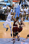 01 February 2015: North Carolina's Danielle Butts (10) shoots behind Boston College's Kat Cooper (44) and Emilee Daley (22). The University of North Carolina Tar Heels hosted the Boston College Eagles at Carmichael Arena in Chapel Hill, North Carolina in a 2014-15 NCAA Division I Women's Basketball game. UNC won the game 72-60.