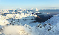 Aerial photo of Hatcher Pass in Alaska's Talkeenta Mountains, looking south towards the city of Palmer.